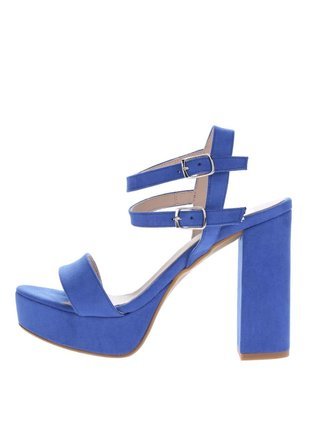 Modré sandále v semišovej úprave na podpätku OJJU