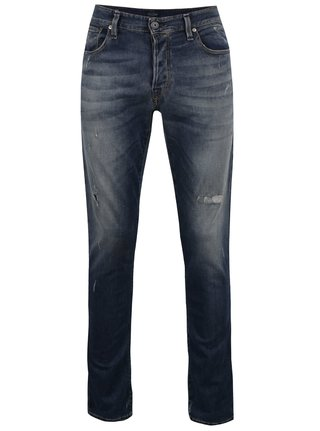 Blugi slim fit bleumarin cu aspect uzat Jack & Jones Glenn Icon