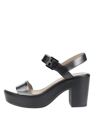 Čierne kožené sandálky na širokom podpätku Geox Zaferly