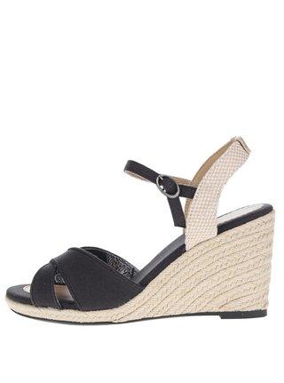 Čierne dámske sandále na klinovom podpätku Pepe Jeans Shark Basic