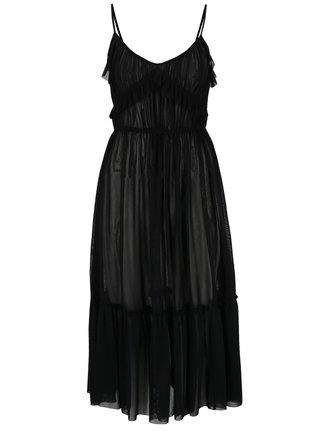 Černé průsvitné šaty s volánky Miss Selfridge