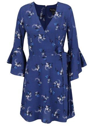 Tmavě modré květované šaty s volány Miss Selfridge