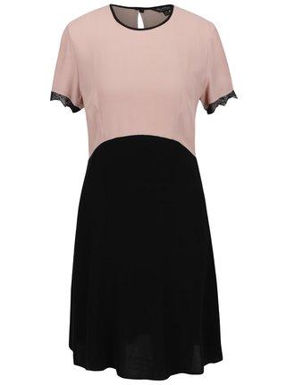 Ružovo-čierne šaty s čipkou na rukávoch Miss Selfridge