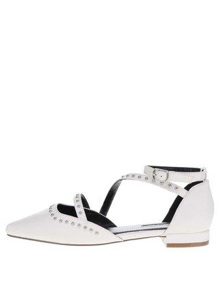 Krémové sandále s detailmi v striebornej farbe Miss Selfridge