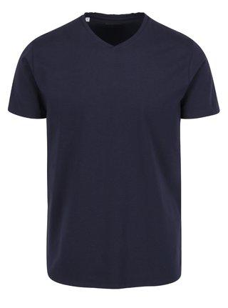 Tricou albastru inchis Selected Homme Pima din bumbac