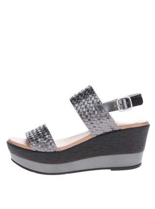 Tmavosivé kožené sandálky na platforme OJJU