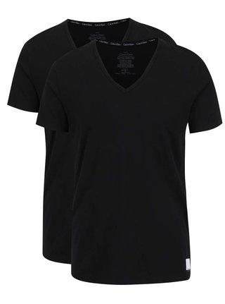 Súprava dvoch pánskych tričiek pod košeľu v čiernej farbe Calvin Klein Underwear