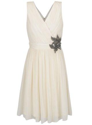 Krémové šaty s korálikovou aplikáciou Little Mistress