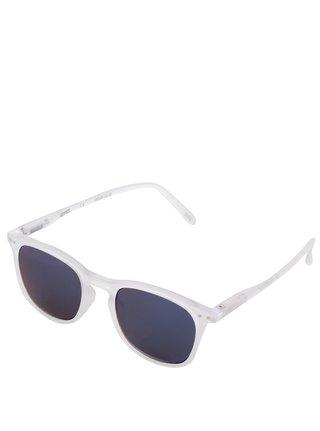 Biele unisex slnečné okuliare so zrkadlovými modrými sklami IZIPIZI #E