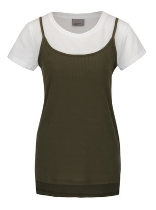 Bílo-zelené tílko s všitým tričkem VERO MODA Noor