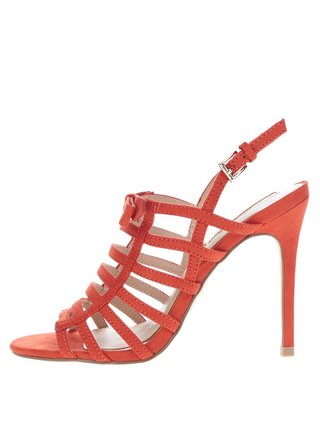 Červené sandálky v semišovej úprave Miss Selfridge