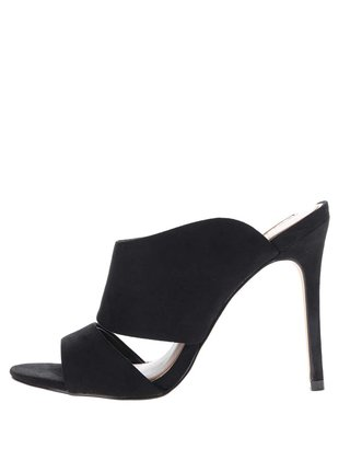 Čierne sandálky v semišovej úprave na ihlovom podpätku Miss Selfridge