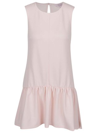 Svetloružové šaty s volánom Miss Selfridge