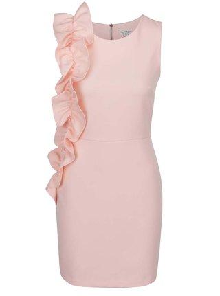 Ružové puzdrové šaty s volánmi na boku Miss Selfridge