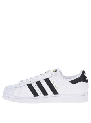 Pantofi sport albi din piele pentru barbati adidas Originals Superstar