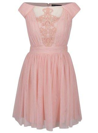 Ružové tylové šaty s čipkovanou aplikáciou v dekolte Little Mistress
