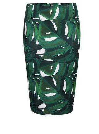 Krémovo-zelená sukně s tropickým vzorem Dorothy Perkins Petite