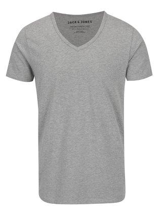 Sivé melírované tričko s véčkovým výstrihom Jack & Jones Basic