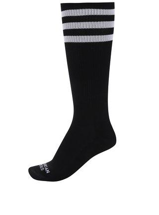 Černé unisex ponožky s bílými pruhy American Socks
