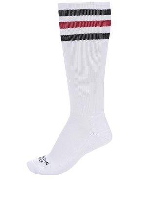 Bílé unisex ponožky s pruhy American Socks