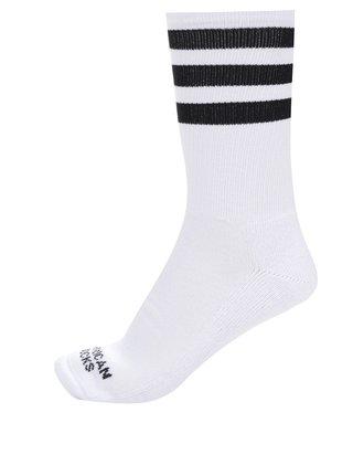 Bílé unisex ponožky s pruhy American socks Old school II.