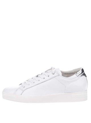 Bílé kožené tenisky s detaily ve stříbrné barvě Tamaris