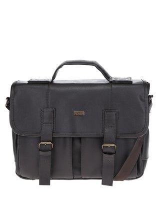 Tmavohnedá pánska taška s prednými vreckami Solier