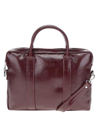 Vínová pánska lesklá kožená taška na notebook Solier