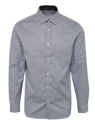 Modrá kockovaná formálna slim fit košeľa Selected Homme One New