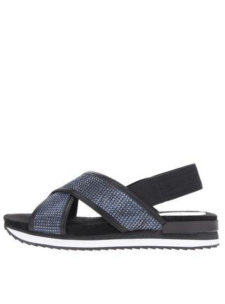 Čierno-modré sandále s trblietavým efektom Tamaris