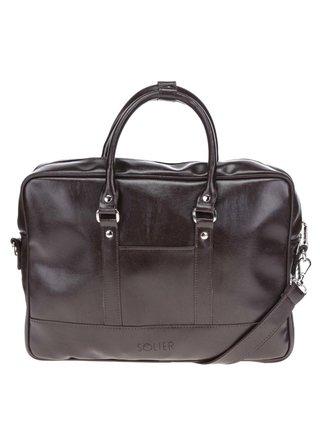 Tmavohnedá pánska taška na notebook Solier Torba