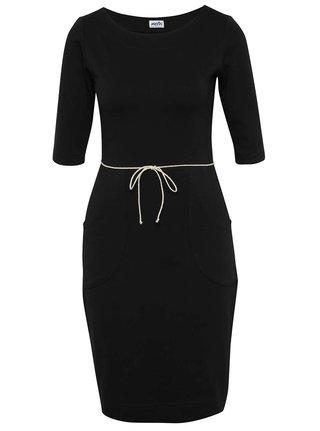 Černé pouzdrové šaty s kapsami miestni