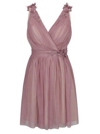 Staroružové šaty s prekladaným výstrihom a plastickým zdobením Little Mistress