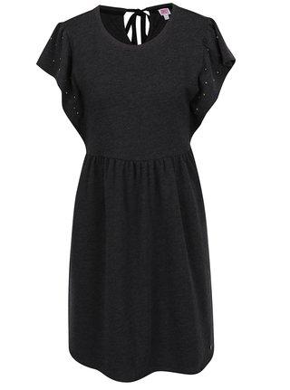 Tmavosivé šaty s plastickými detailmi a zaväzovaním na chrbte Juicy Couture