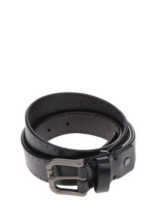 Černý vzorovaný kožený pásek s kovovou přezkou Selected Homme Belt