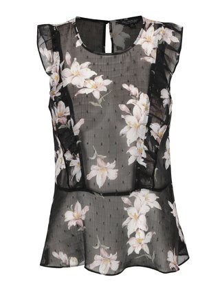 Top negru din voal cu print floral Miss Selfridge