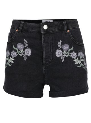 Pantaloni scurti negri din denim cu broderie florala Miss Selfridge