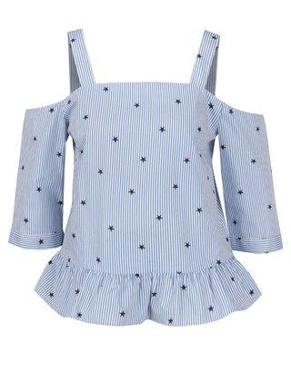 Bluza in dungi cu print stele si decolteu pe umeri Miss Selfridge Petites