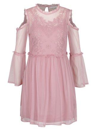 Ružové priesvitné minišaty so spodničkou Miss Selfridge