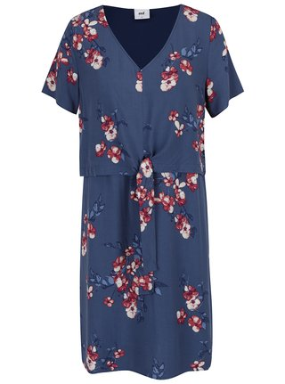 Rochie albastra cu flori si nod decorativ Mama.licious Fusion