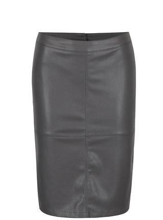Sivá koženková puzdrová sukňa s rozparkom VILA Pen New