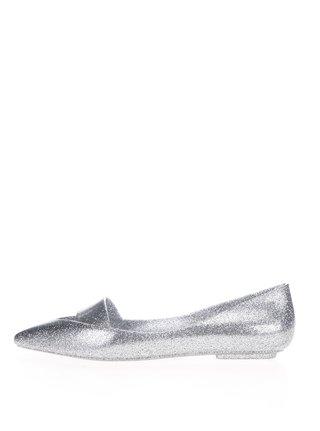 Trblietavé baleríny v striebornej farbe Melissa Maisie