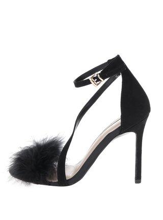 Černé sandálky v semišové úpravě na jehlovém podpatku Miss KG Flirt