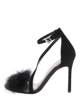 Sandale negre cu toc stiletto si fulgi Miss KG Flirt