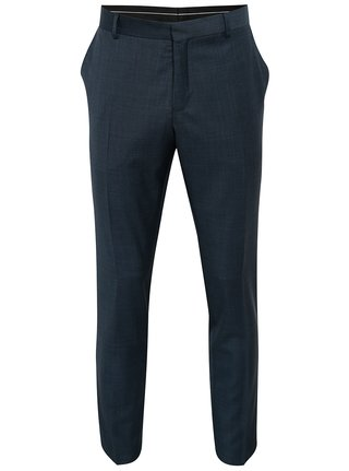 Tmavomodré vlnené oblekové nohavice Selected Homme Done