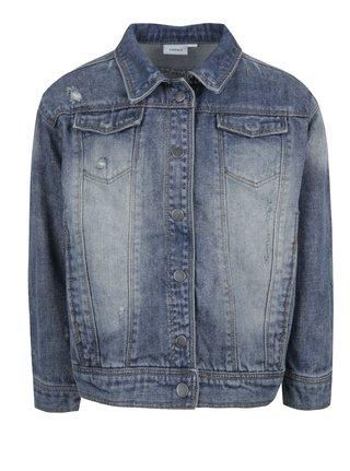 Modrá dievčenská rifľová bunda s potlačou na chrbte name it Balsa