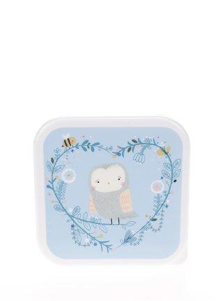 Bielo-modrý box na jedlo s motívom sovy Sass & Belle Square Woodland