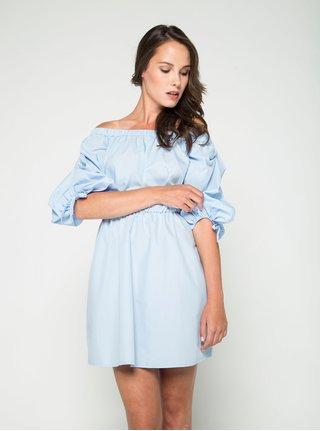 Modré šaty s odhalenými ramenami Miss Selfridge