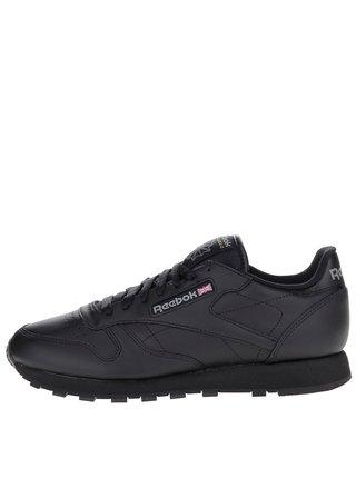 Pantofi sport negri din piele pentru barbati - Reebok GUM