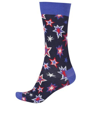 Tmavomodré pánske ponožky s hviezdami Happy Socks Bang Bang